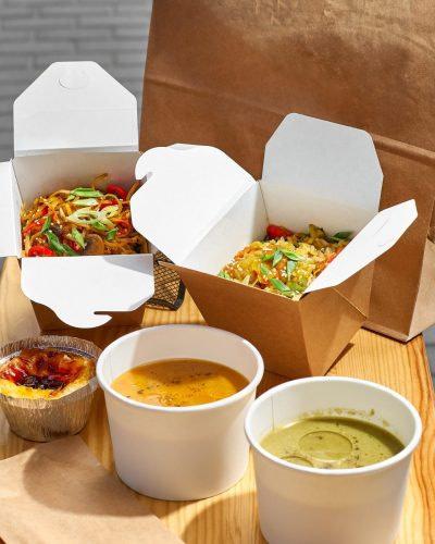 Various takeaway packaging
